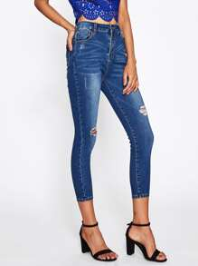 Bleach Wash Cropped Shredded Jeans pictures