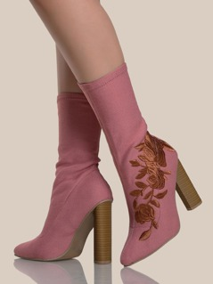 Rose Embroidered Sock Booties ASH ROSE
