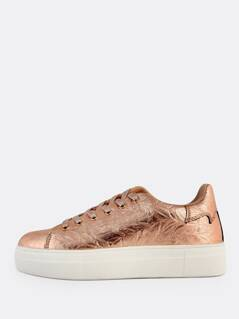 Metallic Crinkle Lace Up Sneakers ROSE GOLD
