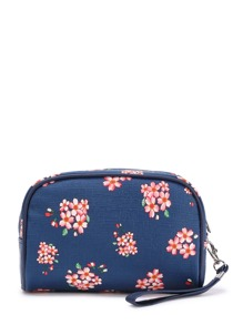 Flower Print Pouch Bag With Wristlet