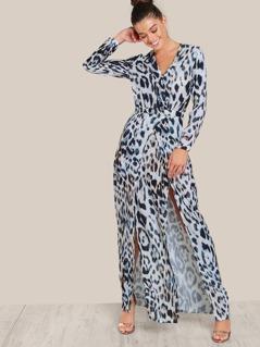 Front Slit Leopard Print Maxi Dress LEOPARD