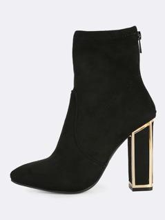 Cutout Heel Zip Up Booties BLACK