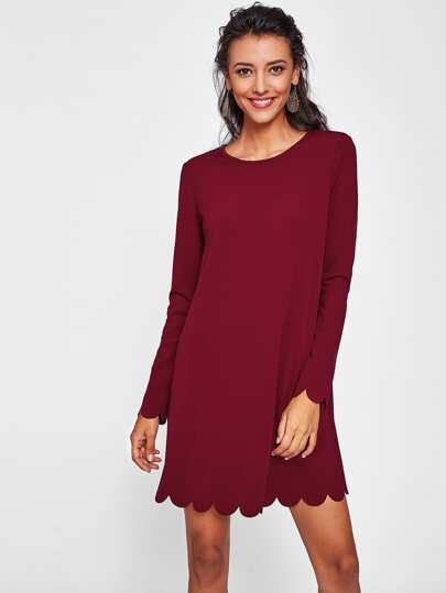 Scallop Edge Solid Dress