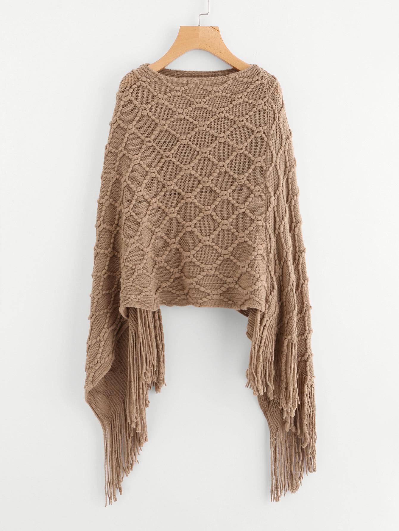 Fringe Hem Poncho Sweater -SheIn(Sheinside)