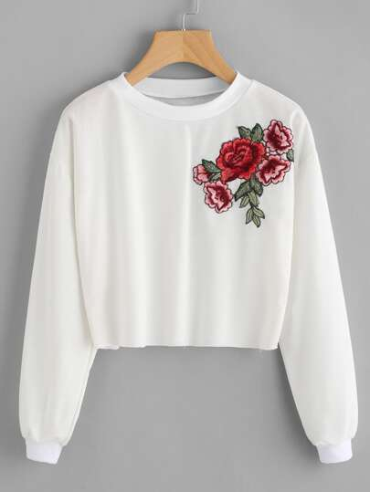 Sweatshirt mit Rosestickerei Applikation
