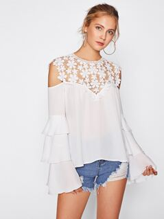 Guipure Lace Yoke Tiered Bell Sleeve Top