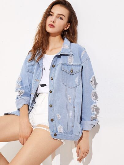 Faded Wash Distressed Boyfriend Denim Jacket