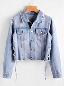 Faded Wash Lace Up Side Denim Jacket