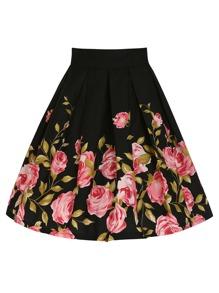 Rose Print Box Pleated Skirt