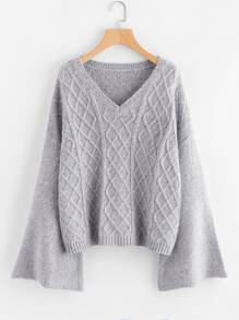 Geo Knit Fluted Sleeve Jumper