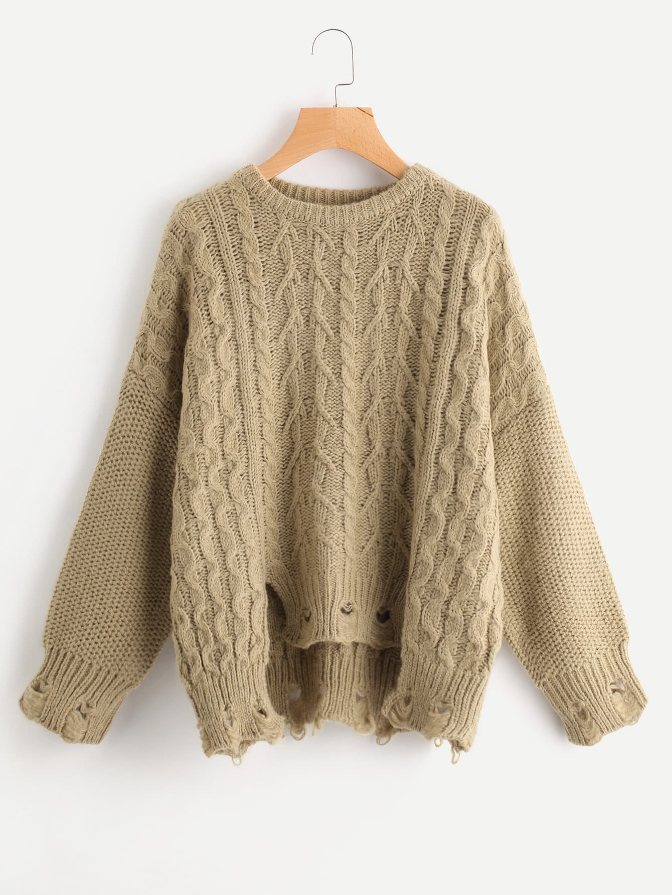 Cable Knit Raw Cut Stepped Hem Jumper цена