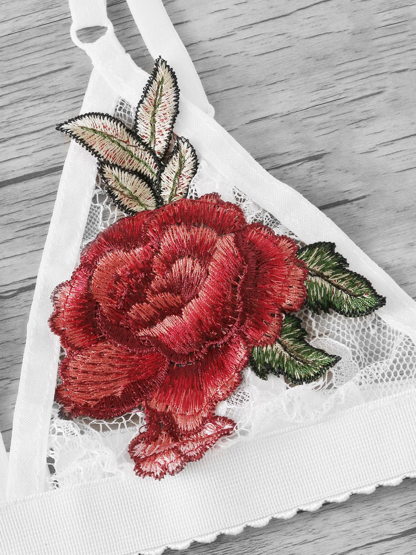 Embroidered Rose Applique Lace Halter Bralette