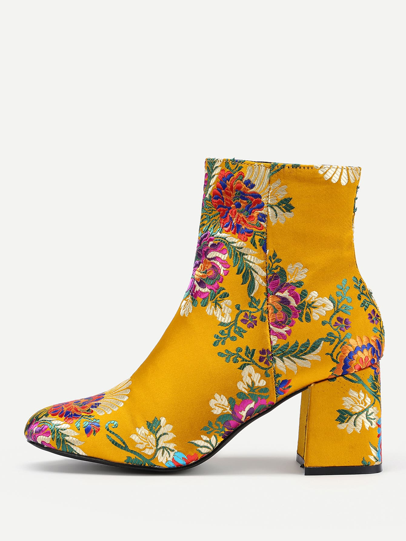 Calico Embroidery Pointed Toe Ankle Boots