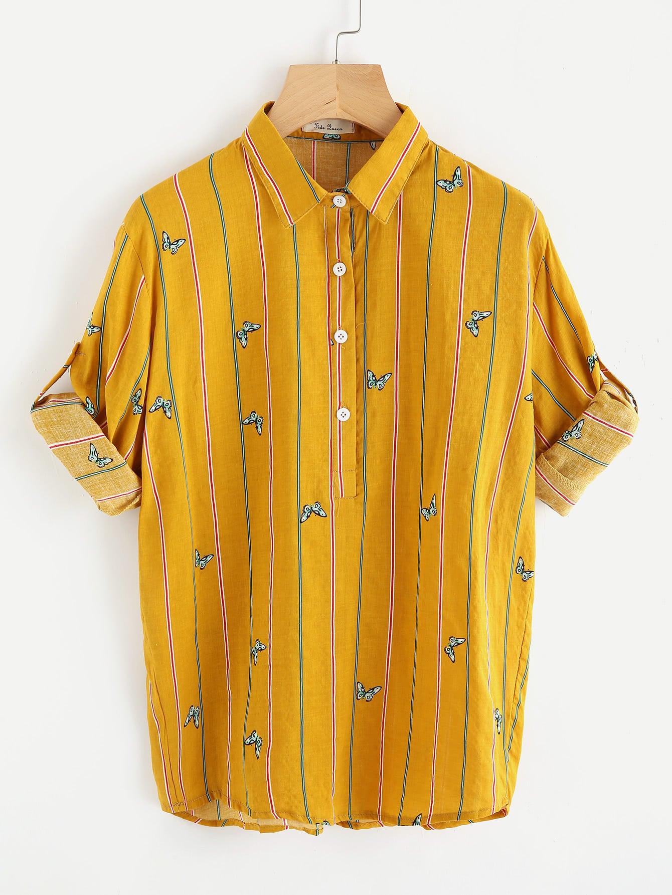 Roll Tab Sleeve Butterfly Print Shirt