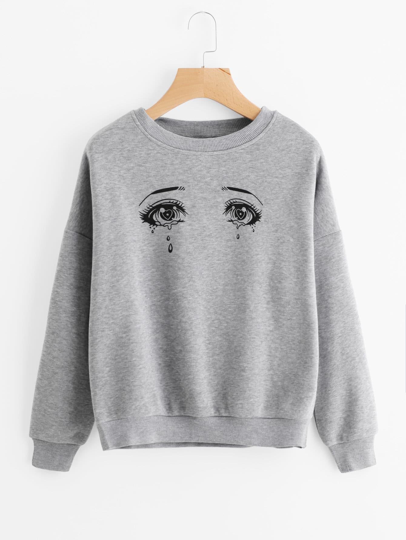 Eyes Print Drop Shoulder Marled Sweatshirt drop shoulder letter print marled crop sweatshirt