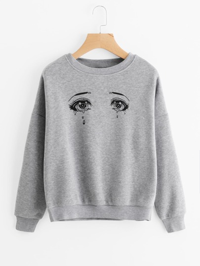 Eyes Print Drop Shoulder Marled Sweatshirt