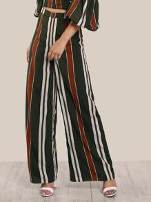 Striped High Rise Pants DARK GREEN