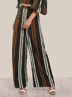 Striped High Rise Pants DARK GREEN