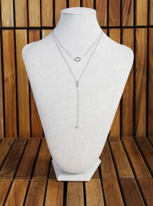 Diamond O Ring Lariat Necklace SILVER