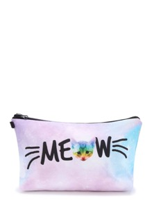 Pastel Ombre Cat Print Makeup Bag