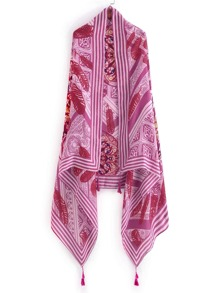 Feather Print Tassel Detail Scarf