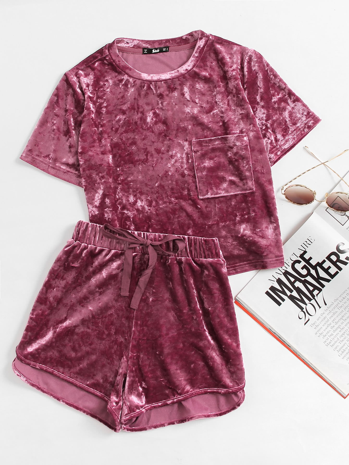 Pocket Front Crushed Velvet Top And Bow Shorts Set crushed velvet top and shorts set