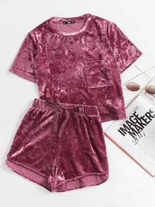 Pocket Front Crushed Velvet Top And Bow Shorts Set