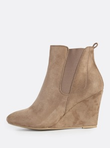 Solid Point Toe Wedge Booties TAUPE