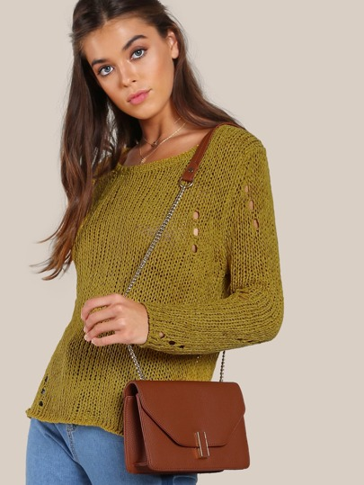 Distressed Long Sleeve Knitted Top MUSTARD