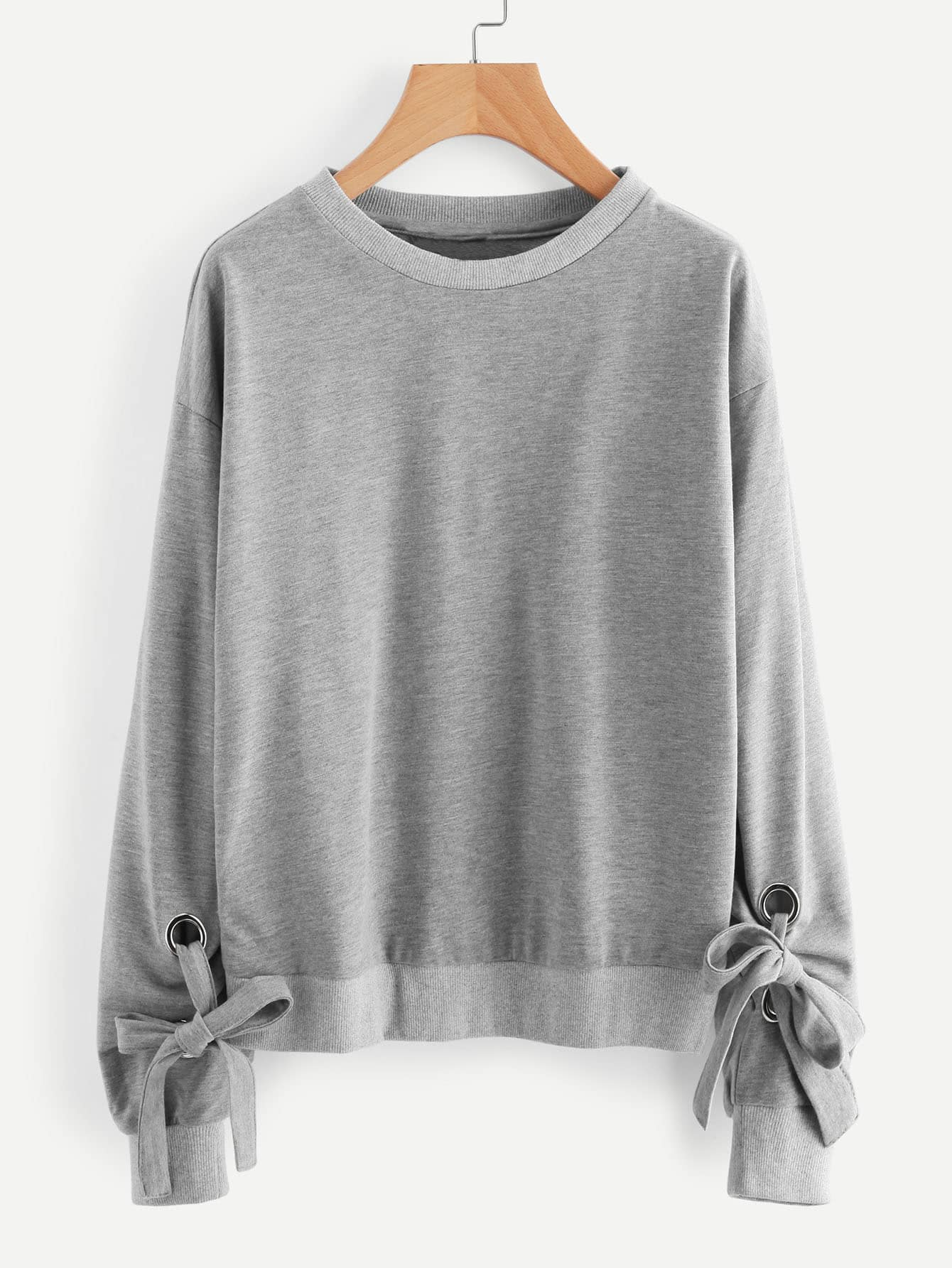 Drop Shoulder Tie Detail Marled Sweatshirt drop shoulder grommet tie detail sweatshirt