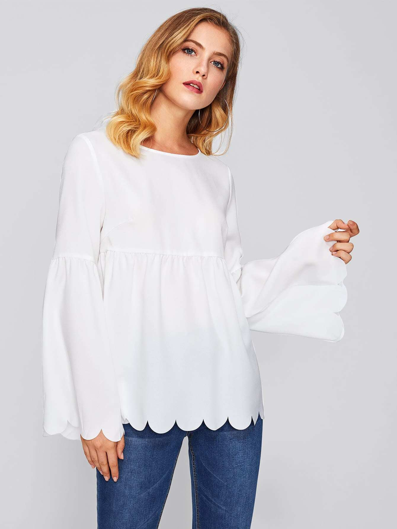 Scallop Edge Bell Sleeve Smock Top