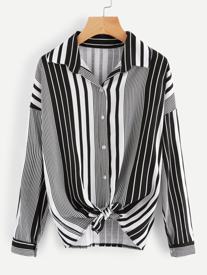Striped Knot Front Shirt