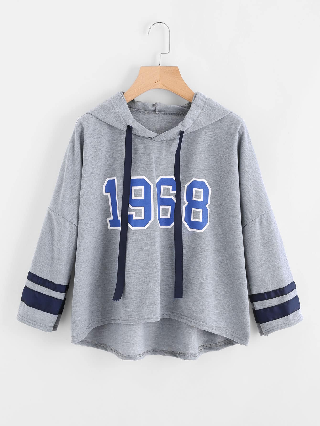 Varsity Print Drop Shoulder Marled Hoodie eyes print drop shoulder marled sweatshirt