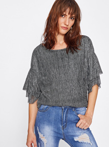 Ruffle Sleeve Sparkle Top