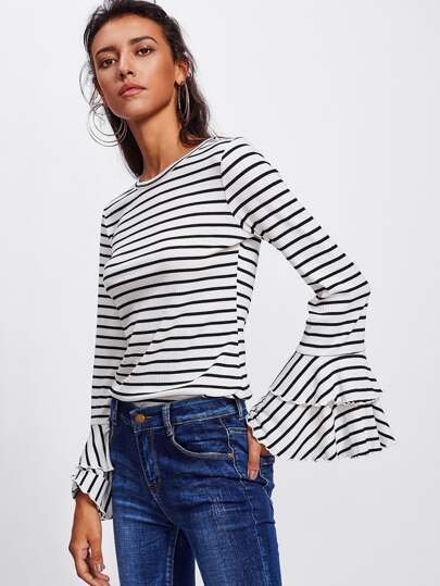 Layered Bell Cuff Rib Knit Striped Tee