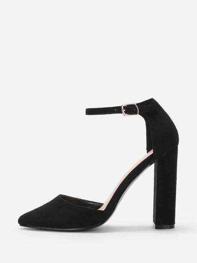 Zapatos de tacón alto en punto con correa al tobillo