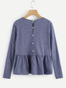 Buttoned Back Heather Knit Smock Top