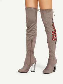 Snake Embroidery Lace Up Back Over Knee Boots