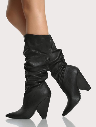 Slouch Triangle Heel Boots BLACK