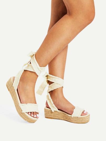 Tie Leg Flatform Denim Sandals