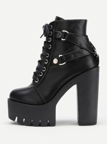 Side Zipper Platform Heeled PU Boots