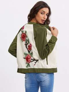 Two Tone Raglan Sleeve Embroidered Patch Bomber Jacket