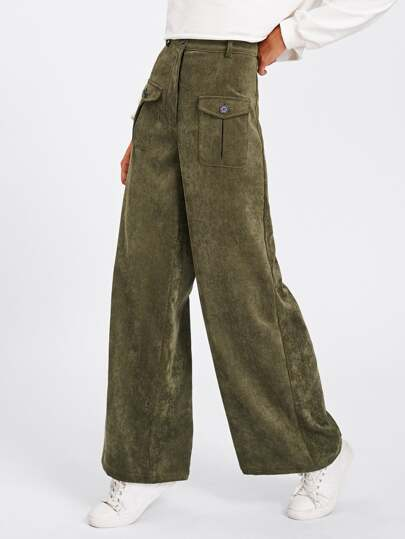 Buttoned Pocket Front Cord Palazzo Pants