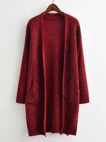 Drop Shoulder Open Front Speckled Sweater