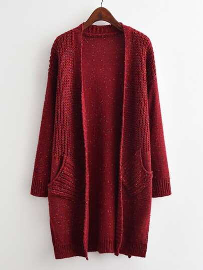 Drop Shoulder Open Front Speckled Sweater