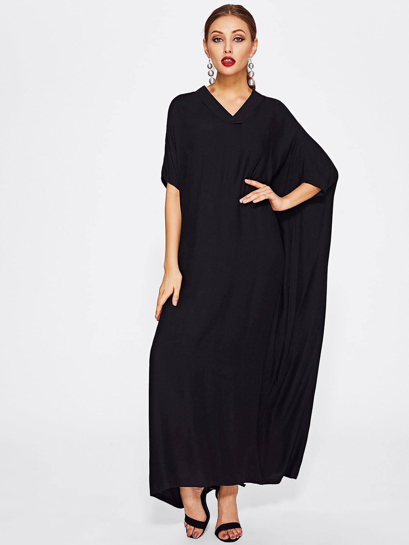 Dolman sleeve crepe cocoon dress shein sheinside for Dolman sleeve wedding dress