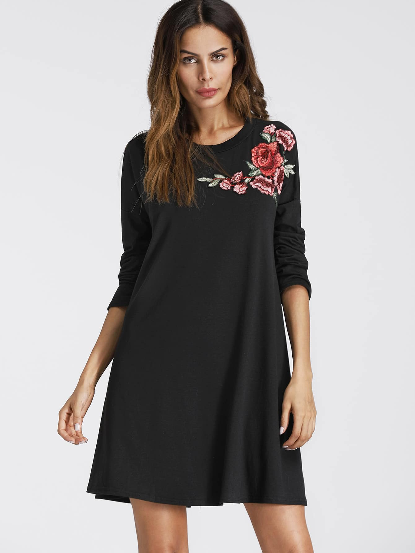 Embroidered Rose Applique Shift Dress embroidered rose applique side split belt dress