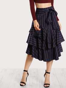 Pinstripe Ruffle Hem Skirt NAVY