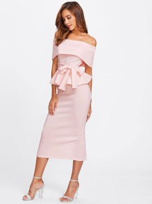 Foldover Bardot Peplum Top & Skirt Set