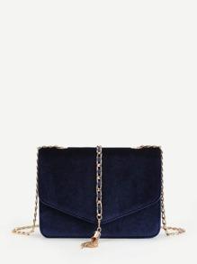 Chain Tassel Decorated Velvet Crossbody Bag